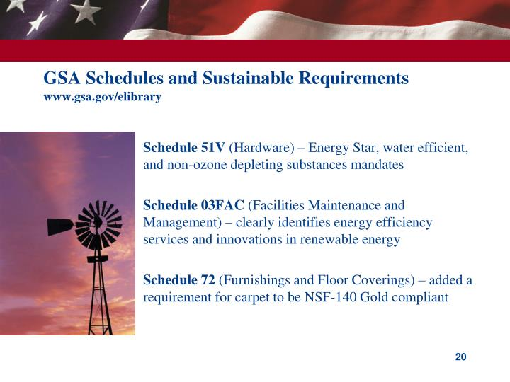 GSA Schedules and Sustainable Requirements