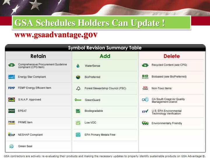 GSA Schedules Holders Can Update !