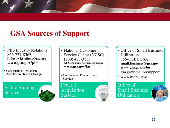 GSA Sources of Support