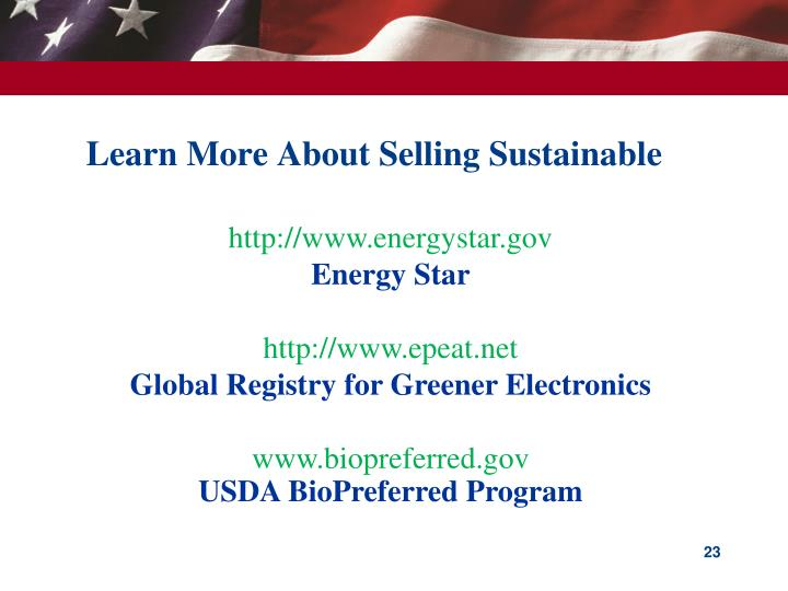 Learn More About Selling Sustainable