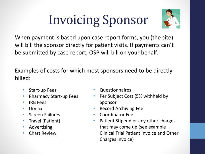 Invoicing Sponsor