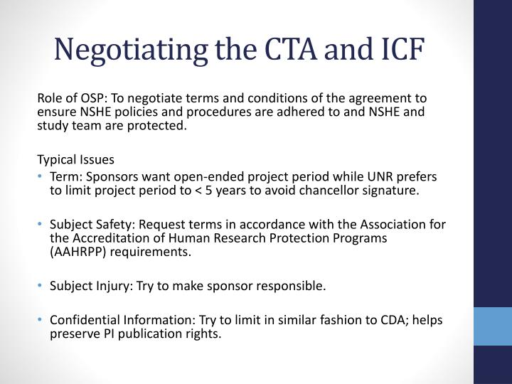 Negotiating the CTA and ICF