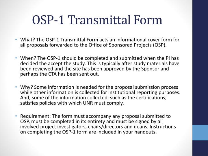 OSP-1 Transmittal Form