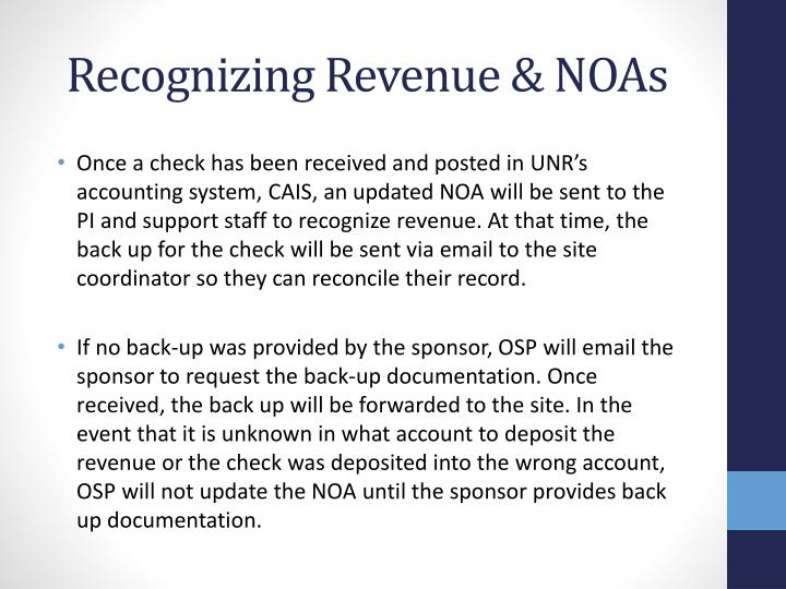 Recognizing Revenue & NOAs