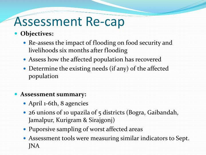 Assessment re cap