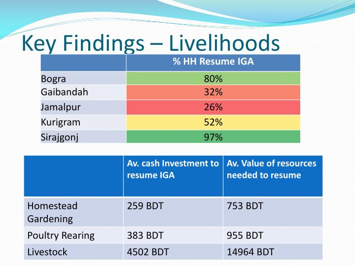 Key Findings – Livelihoods