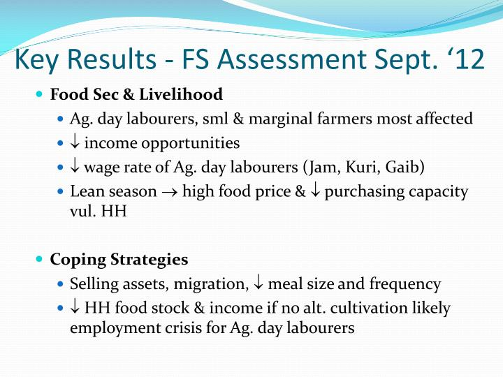 Key Results - FS Assessment Sept. '12