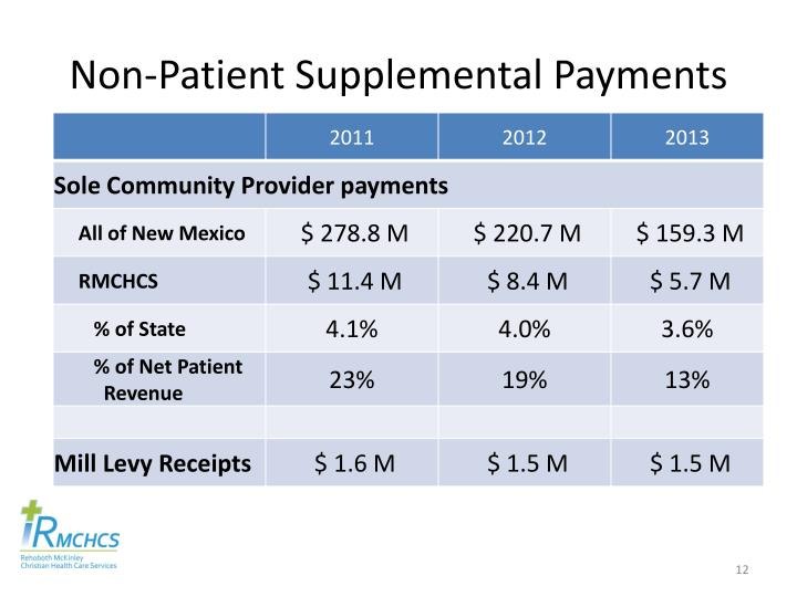 Non-Patient Supplemental Payments