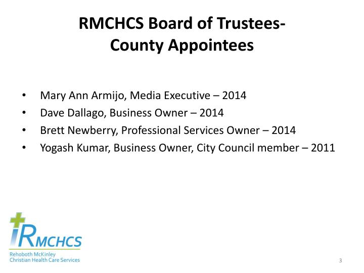 Rmchcs board of trustees county appointees