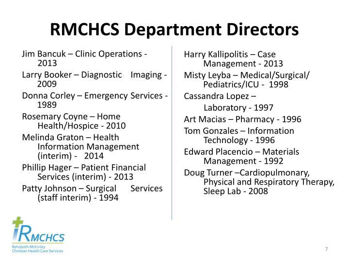 RMCHCS Department Directors