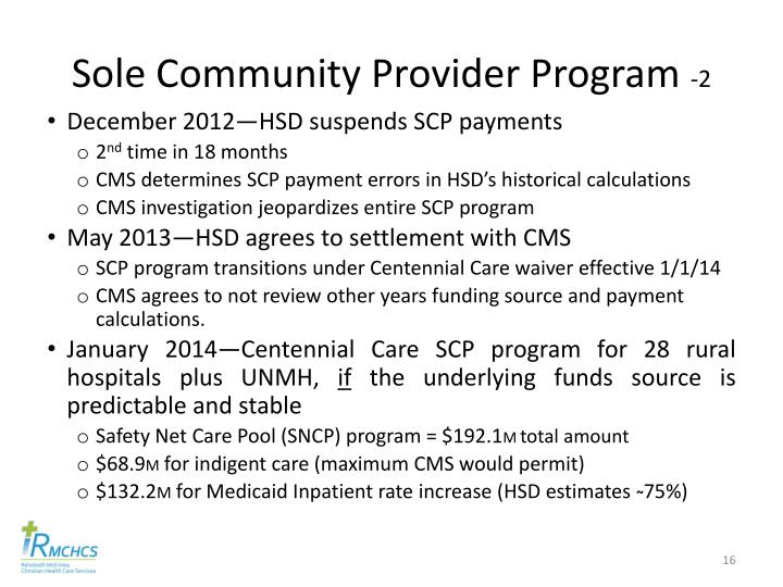 Sole Community Provider Program