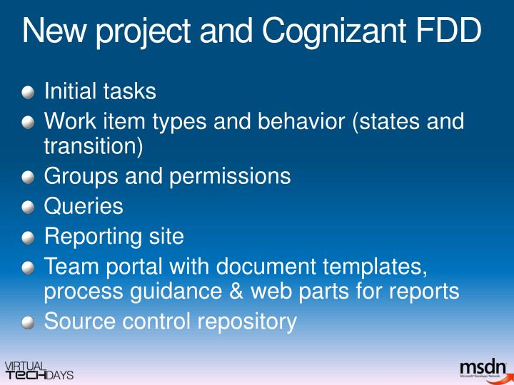 New project and Cognizant FDD