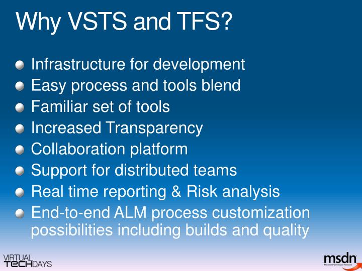Why VSTS and TFS?