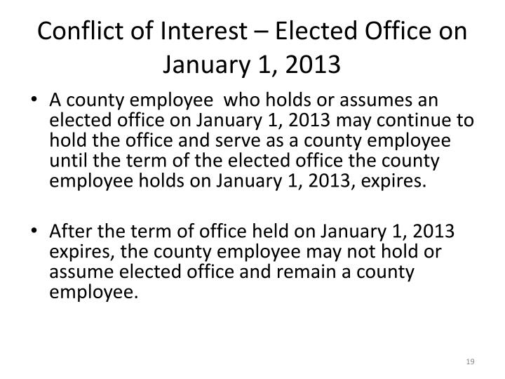 Conflict of Interest – Elected Office on January 1, 2013