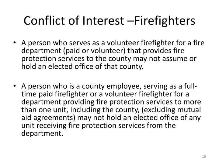 Conflict of Interest –Firefighters