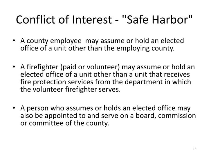 "Conflict of Interest - ""Safe Harbor"""