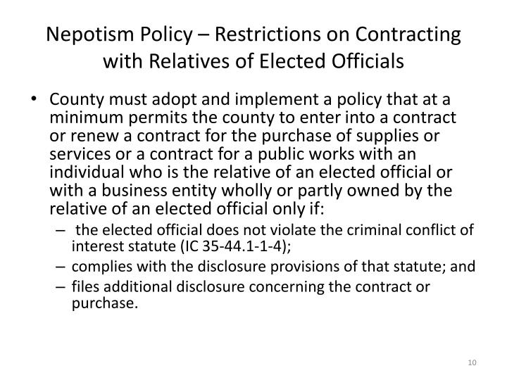 Nepotism Policy – Restrictions on Contracting