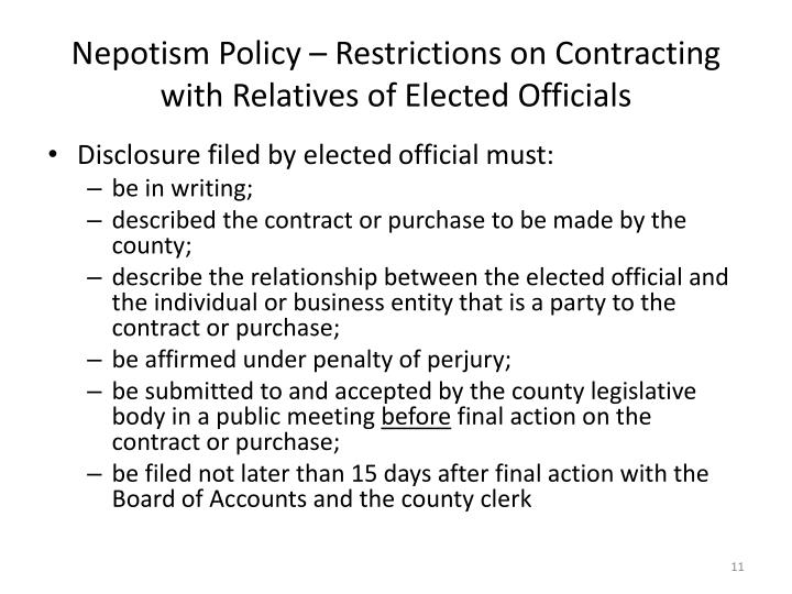 Nepotism Policy – Restrictions on Contracting with Relatives of Elected Officials