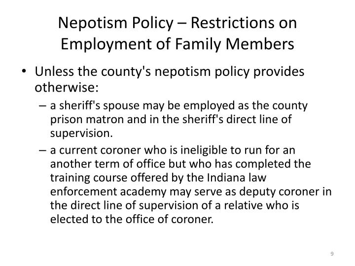 Nepotism Policy – Restrictions on Employment of Family Members
