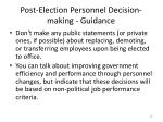 post election personnel decision making guidance
