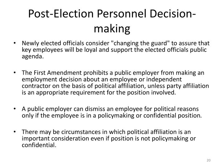 Post-Election Personnel Decision-making