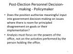 post election personnel decision making policymaker