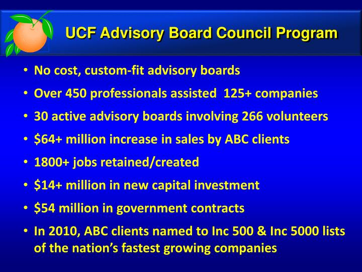 UCF Advisory Board Council Program