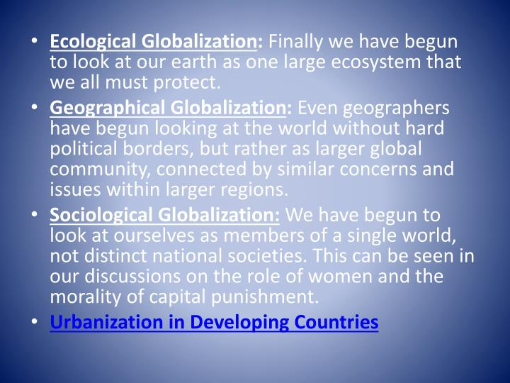 Ecological Globalization