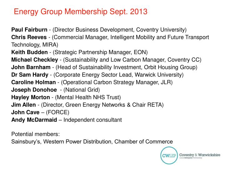 Energy Group Membership Sept.