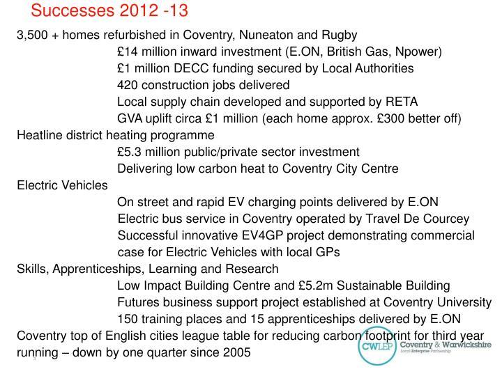 Successes 2012 -13