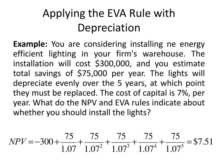 Applying the EVA Rule with Depreciation