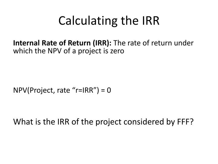 Calculating the IRR