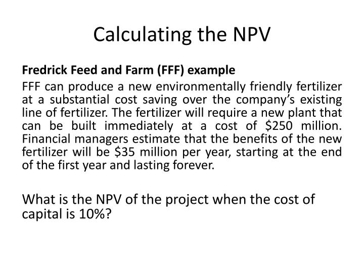 Calculating the NPV