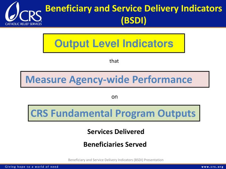 Beneficiary and Service Delivery Indicators (BSDI)