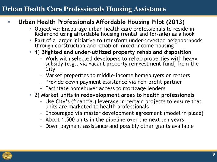 Urban Health Care Professionals Housing Assistance