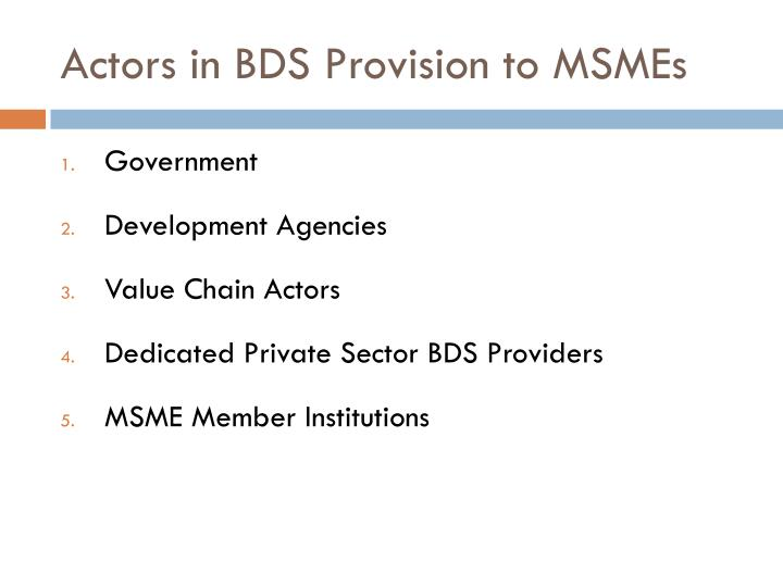 Actors in BDS Provision to MSMEs