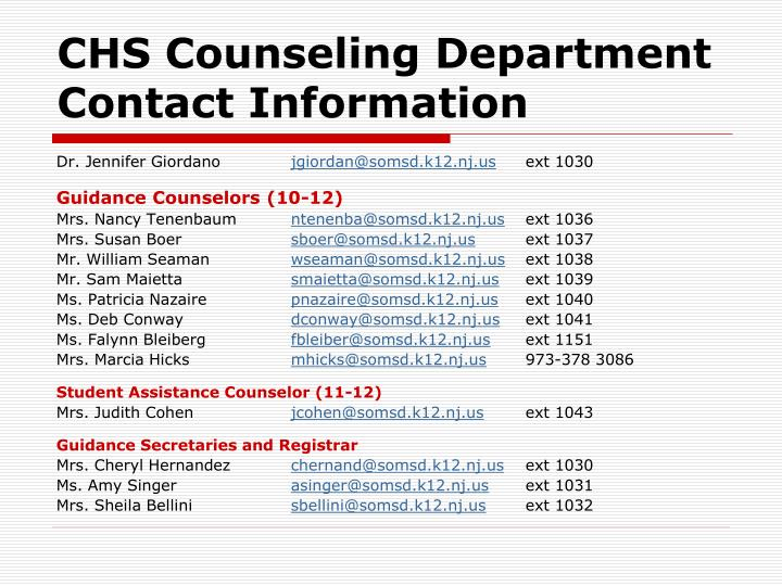 CHS Counseling Department Contact Information