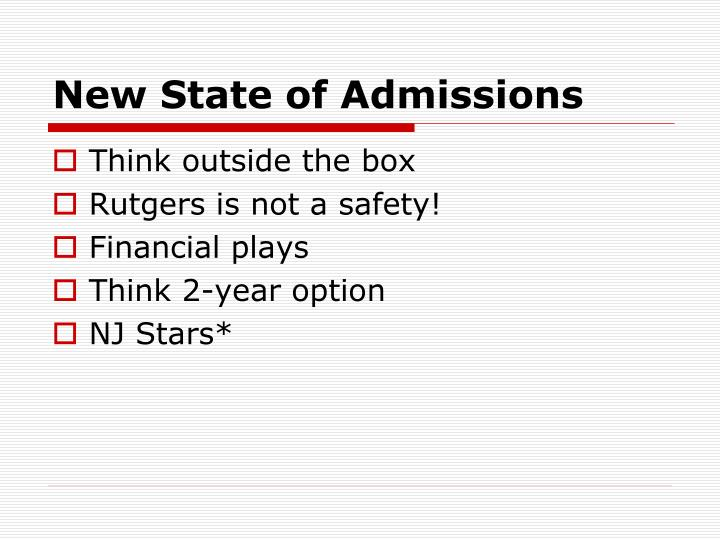 New State of Admissions