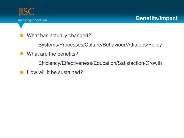 Benefits/Impact