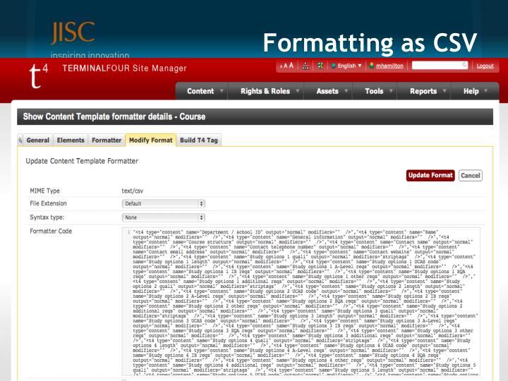 Formatting as CSV