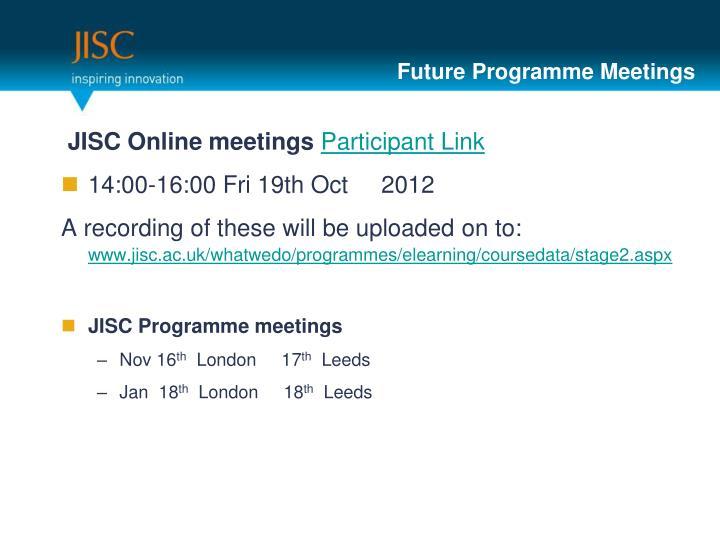 Future Programme Meetings
