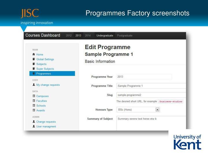 Programmes Factory screenshots