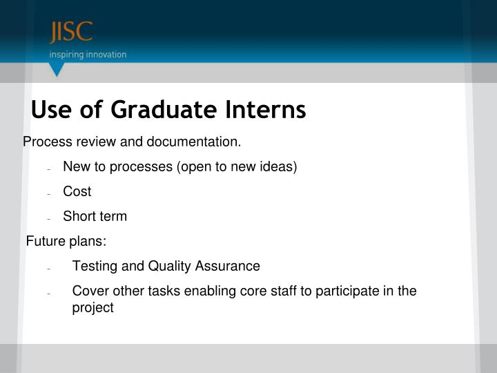 Use of Graduate Interns