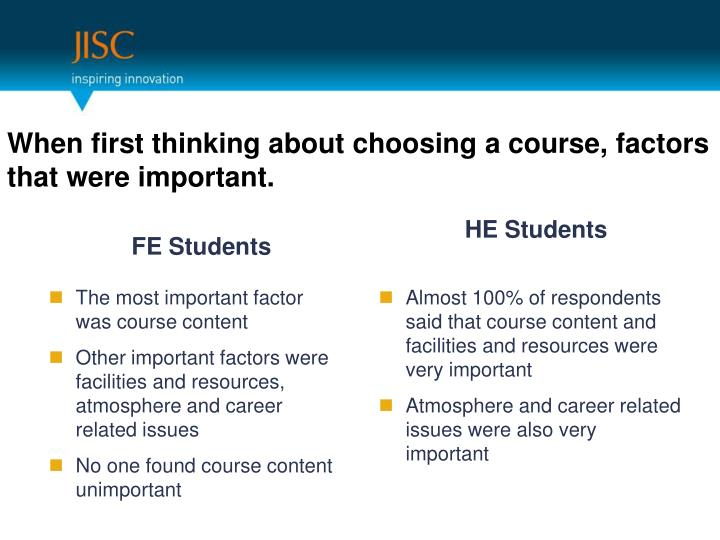 When first thinking about choosing a course, factors that were important.