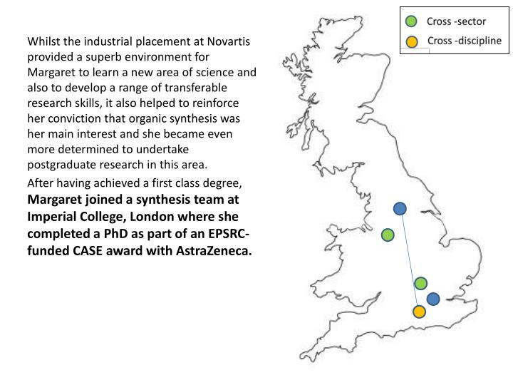 Whilst the industrial placement at Novartis provided a superb environment for Margaret to learn a new area of science and also to develop a range of transferable research skills, it also helped to reinforce her conviction that organic synthesis was her main interest and she became even more determined to undertake postgraduate research in this area.