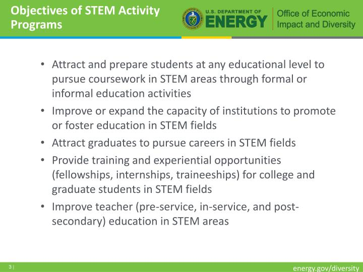 Objectives of stem activity programs
