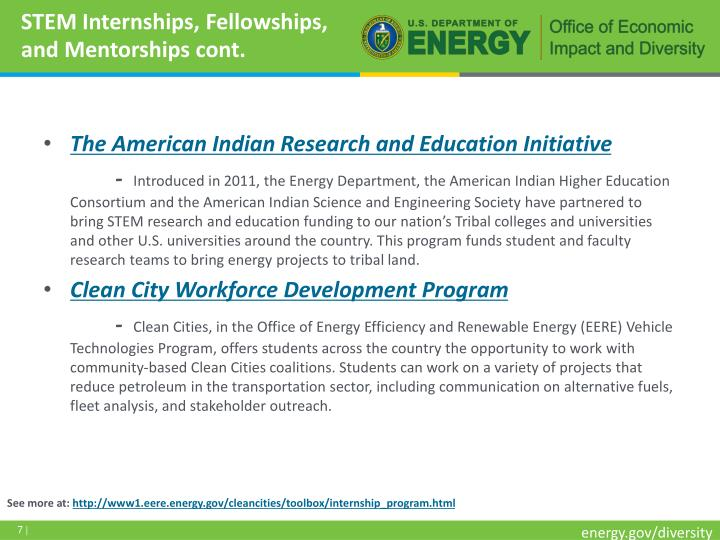 STEM Internships, Fellowships, and Mentorships cont.