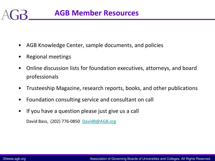 AGB Member Resources