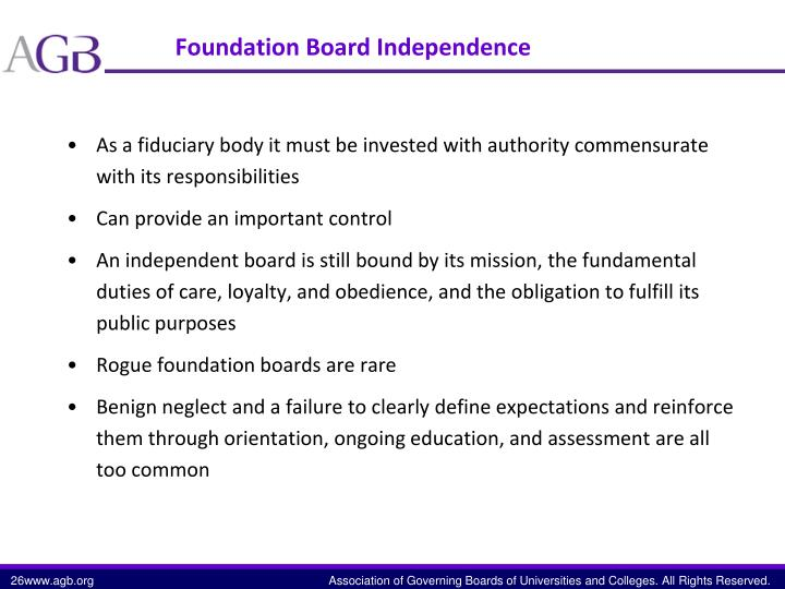 Foundation Board Independence