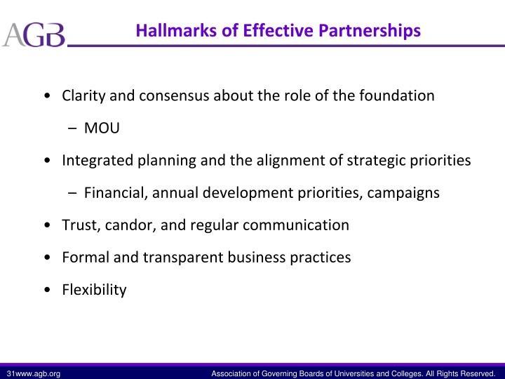 Hallmarks of Effective Partnerships